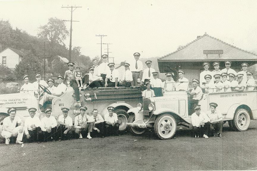 Volunteer firefighters at Treveskyn Station circa 1930s