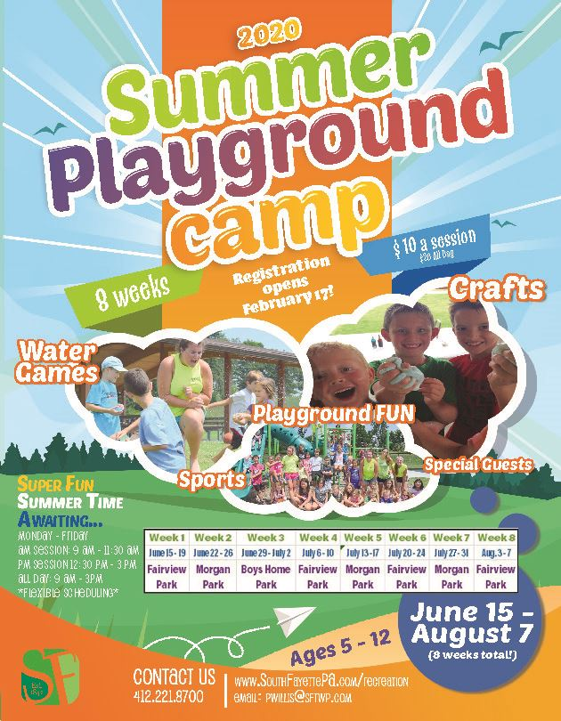 2020 Summer Playground Camp flyer