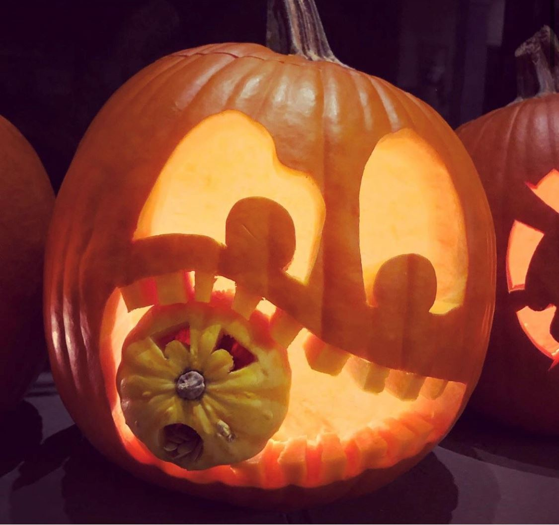 Photo of carved pumpkin by jack-o'-lantern photo contest winner Michaela Remtulla