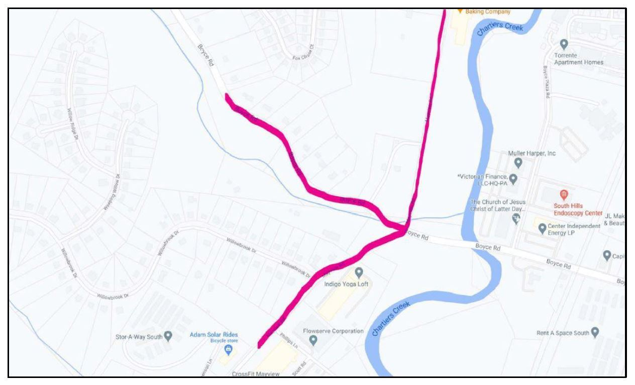 Map of Columbia Gas Project Area on Boyce and Mayview Roads 2020