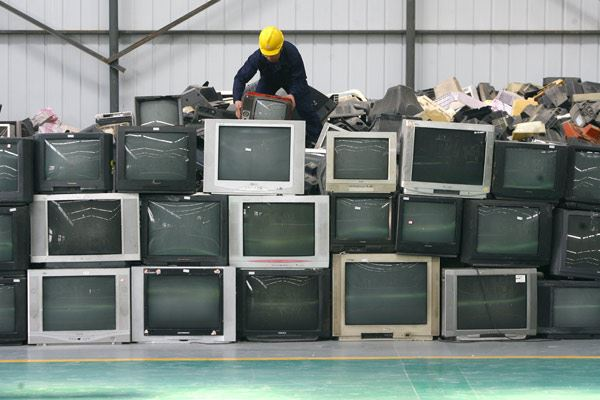Pile of TVs for recycling