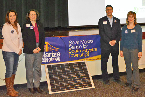 South Fayette's Lisa Malosh, Deron Gabriel and Andrea Iglar with SmartPower representative Sharon Pillar