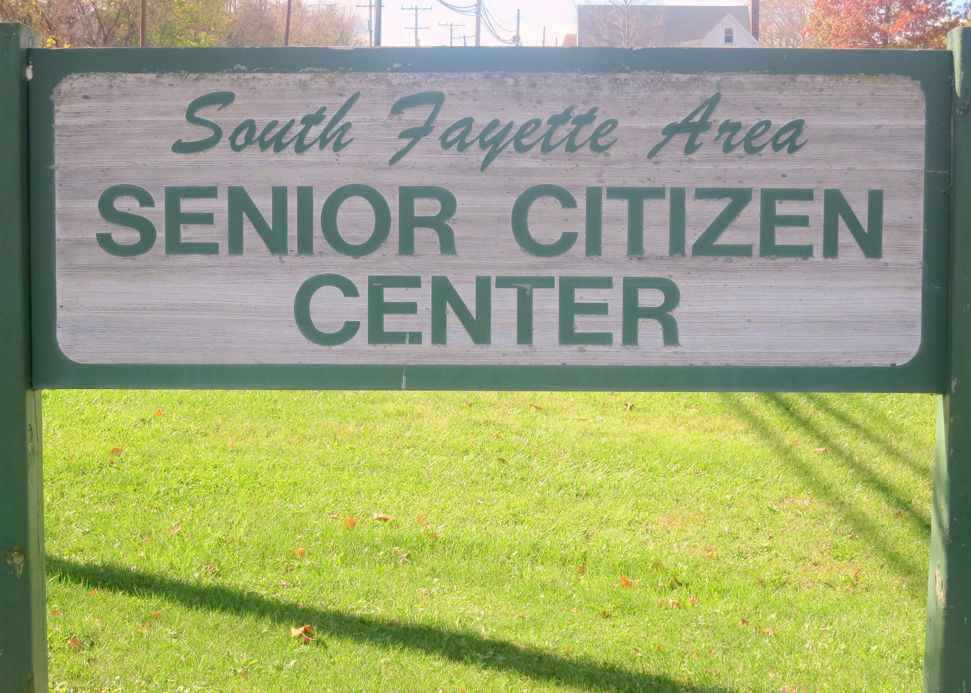 South Fayette Area Senior Center green and white sign outside